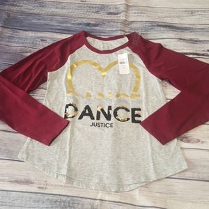 """Justice """"Dance"""" shirt, size 8 NWT"""